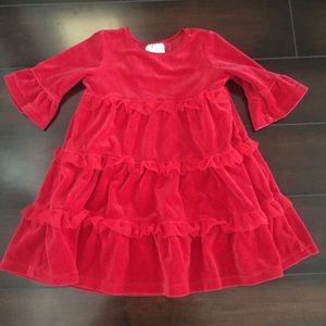 Hanna Andersson Red Velvet Tulle Tiered Dress